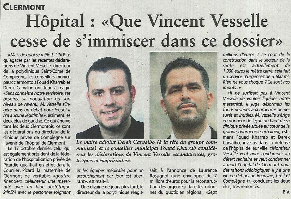 20151104-OH-Clermont-Hôpital : « Que Vesselle cesse de s'immiscer dans ce dossier » [Derek Carvalho]