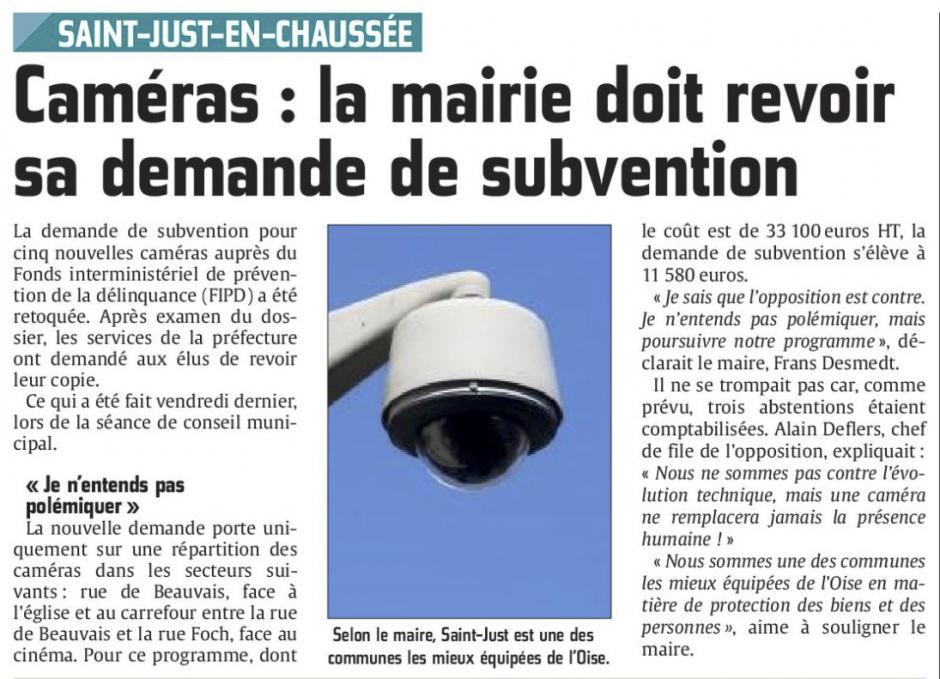 20151105-CP-Saint-Just-en-Chaussée-Caméras : la mairie doit revoir sa demande de subvention [Alain Deflers]