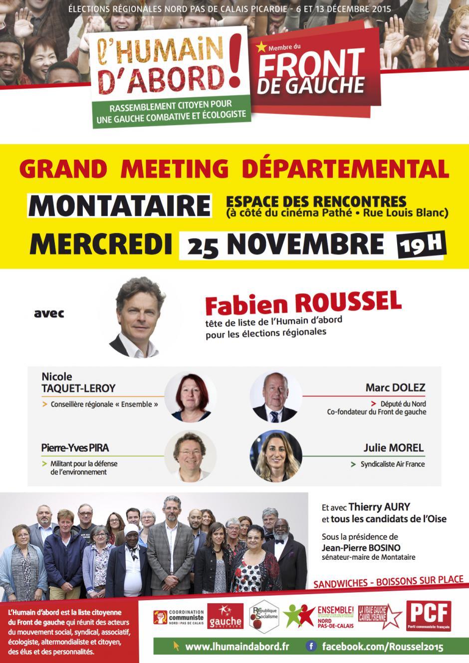 Tract de campagne de la liste Front de gauche l'Humain d'abord «Meeting départemental - Liberté-Égalité-Fraternité » - Oise, élection régionale Nord-Pas-de-Calais-Picardie, 19 novembre 2015