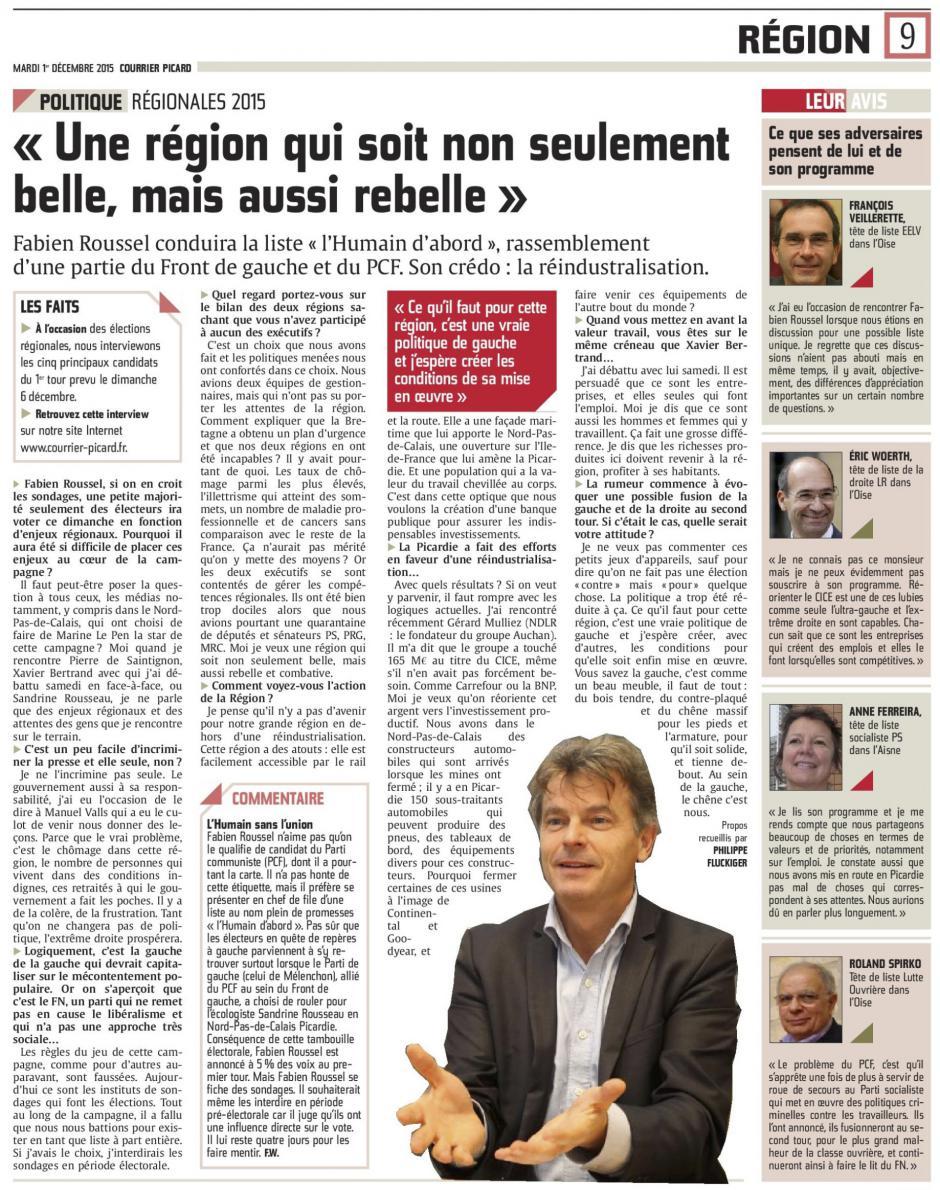 20151201-CP-NPdCP-R2015-Fabien Roussel : « Une région qui soit non seulement belle, mais aussi rebelle »