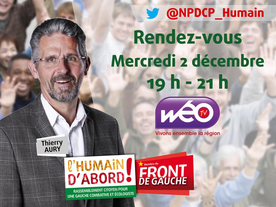2 décembre, Wéo TV - Débat avec Thierry Aury et les autres candidats de l'Oise