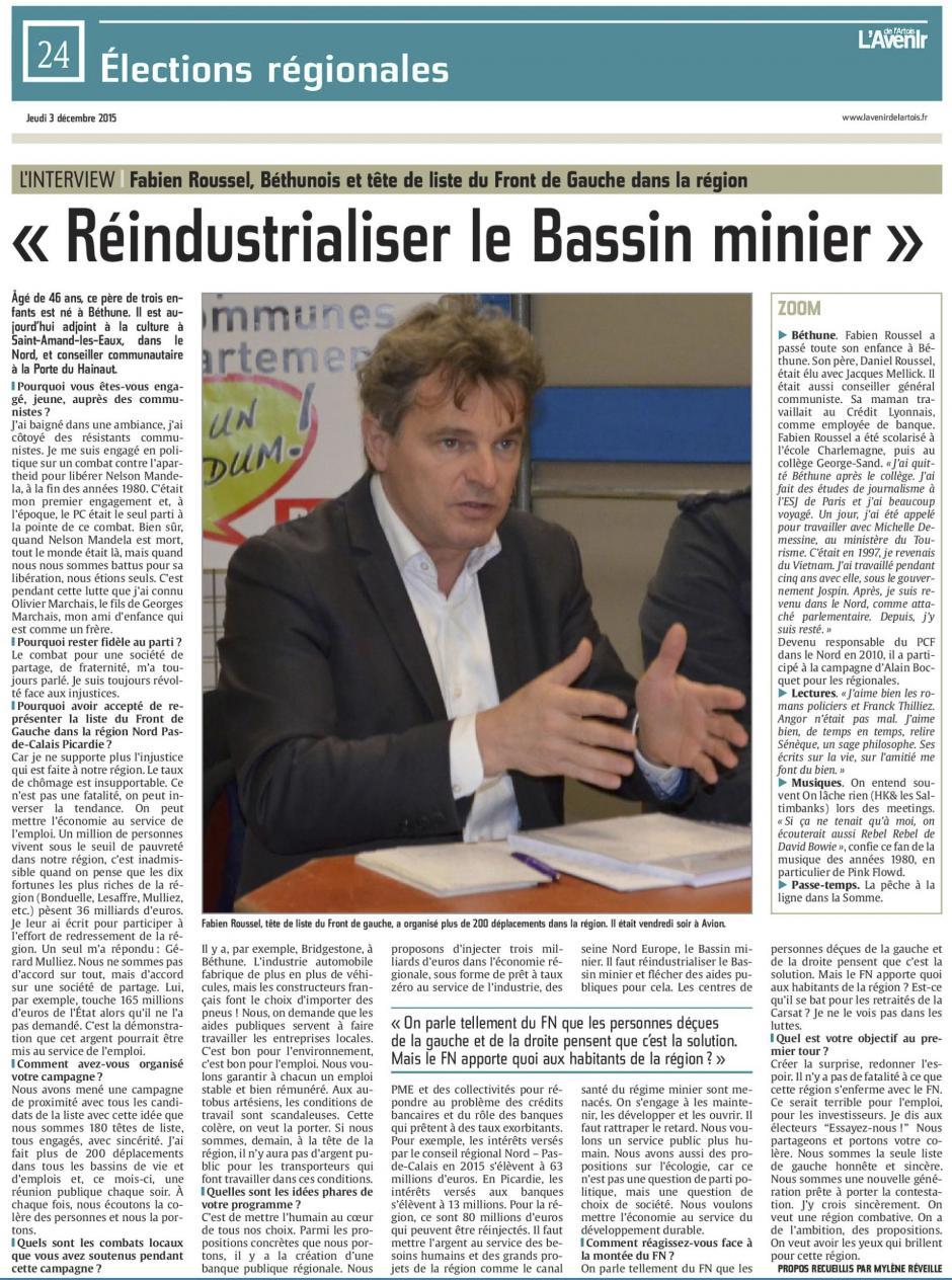 20151203-AvArtois-NPdCP-R2015-Fabien Roussel : « Réindustrialiser le Bassin minier »