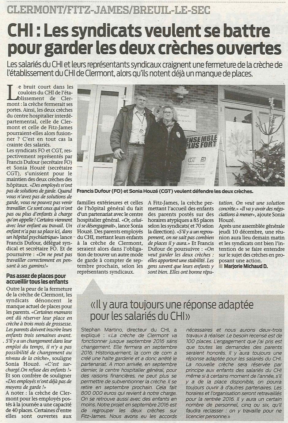 20151216-BonP-Clermont-CHI : les syndicats veulent se battre pour garder les deux crèches ouvertes