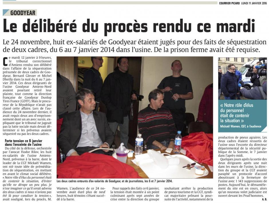 20160111-CP-Amiens-Goodyear : le délibéré du procès rendu ce mardi [édition Amiens]