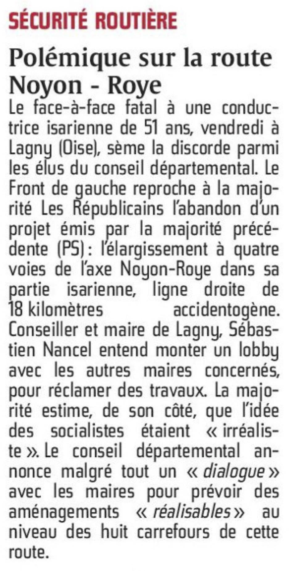 20160112-CP-Oise-Polémique sur la route Noyon-Roye [pages régionales]