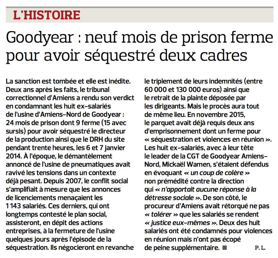 20160113-LeFig-Amiens-Goodyear : neuf mois de prison ferme pour avoir séquestré deux cadres