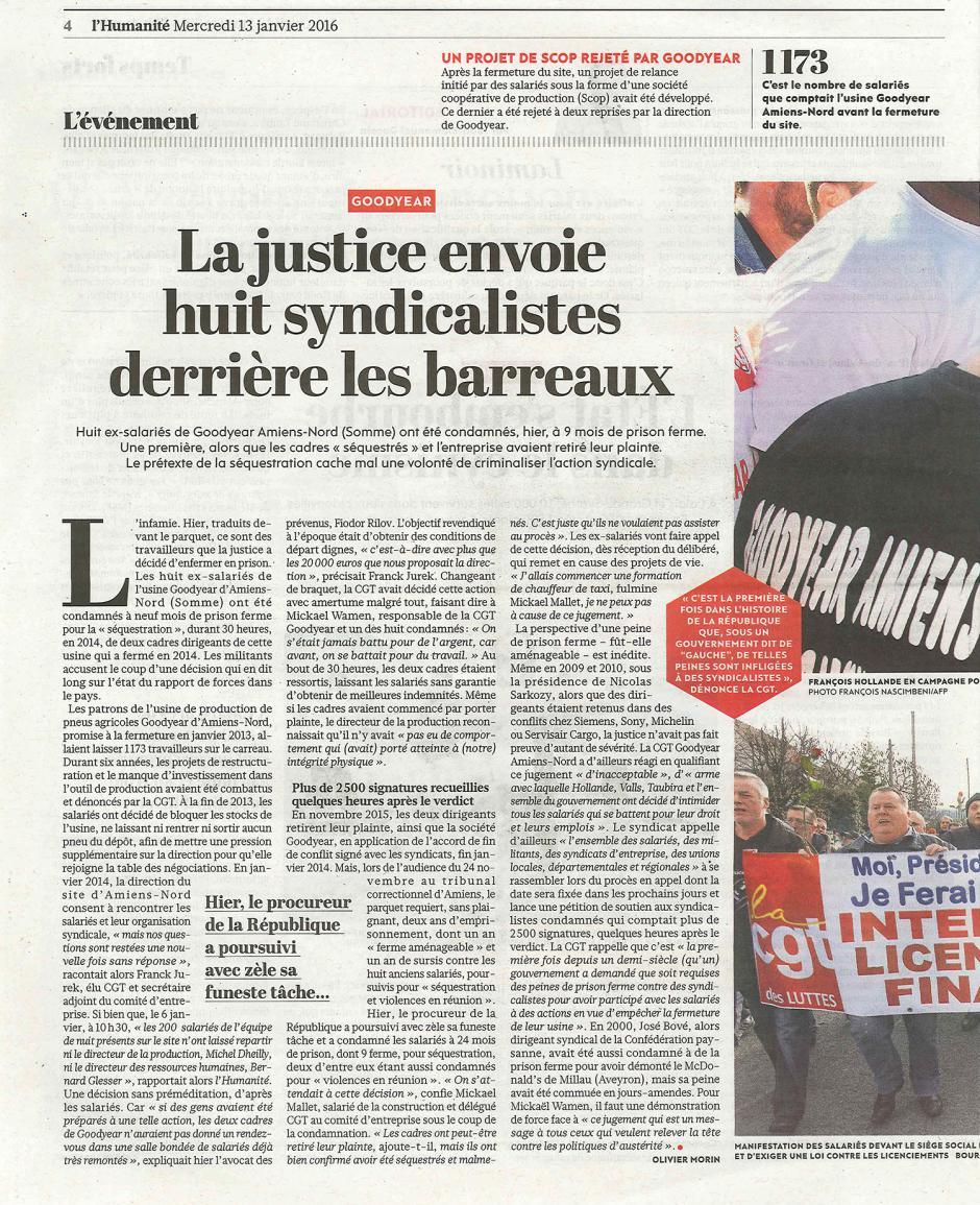 20160113-L'Huma-Amiens-La justice envoie huit syndicalistes derrière les barreaux [Goodyear]