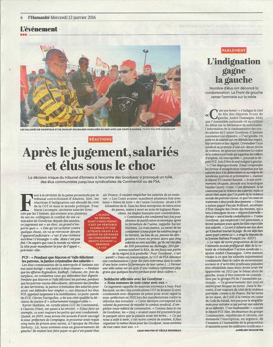 20160113-L'Huma-Amiens-Après le jugement, salariés et élus sous le choc [Goodyear]