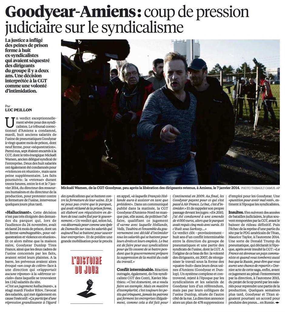 20160113-Libé-Amiens-Goodyear : coup de pression judiciaire sur le syndicalisme