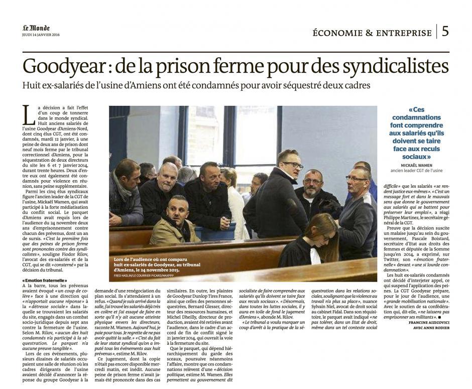 20160114-LeM-Amiens-Goodyear : de la prison ferme pour les syndicalistes