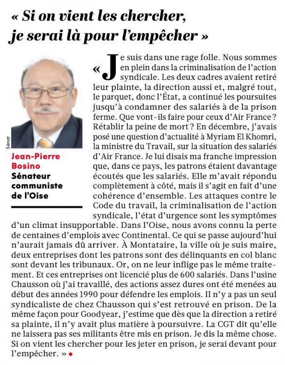 20160114-L'Huma-France-Jean-Pierre Bosino : « Si on vient les chercher, je serai là pour l'empêcher »