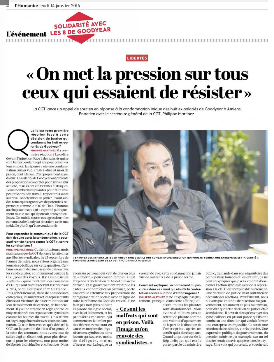 20160114-L'Huma-France-Philippe Martinez : « On met la pression sur tous ceux qui essaient de résister »