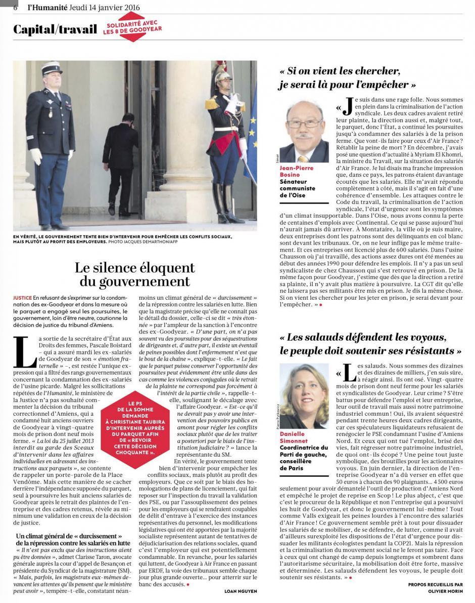 20160114-L'Huma-France-Le silence éloquent du gouvernement [Goodyear]
