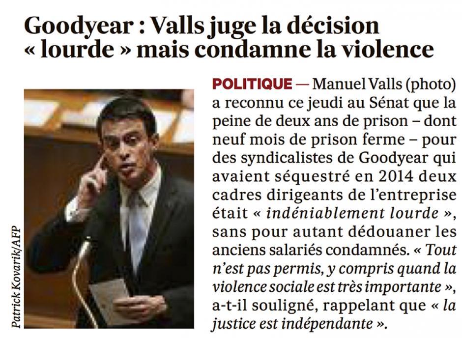 20160115-Les Échos-France-Goodyear : Valls juge la décision « lourde » mais condamne la violence