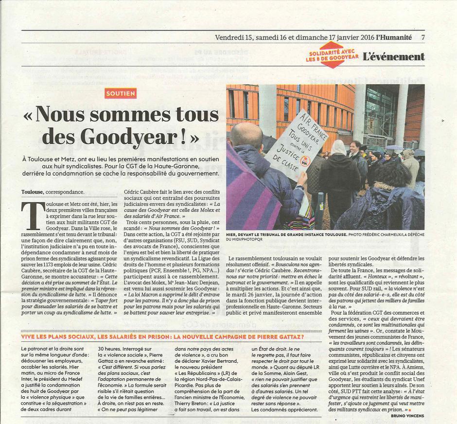 20160115-L'Huma-Toulouse-« Nous sommes tous des Goodyear ! »