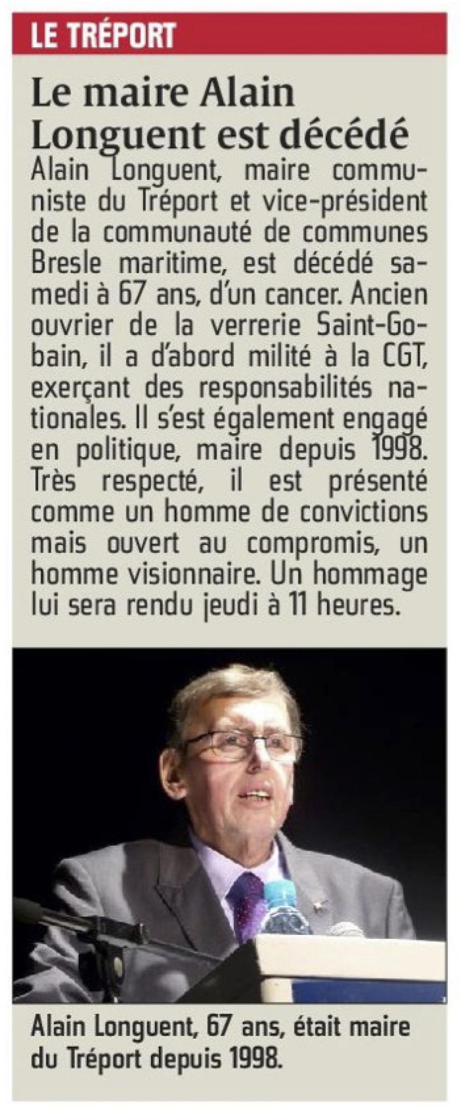 20160118-CP-Le Tréport-Le maire Alain Longuent est décédé [pages régionales]