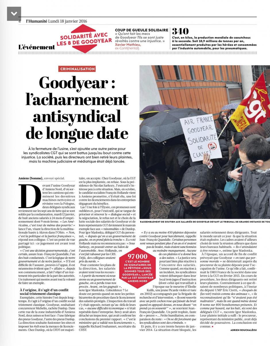 20160118-L'Huma-Amiens-Goodyear : l'acharnement antisyndical de longue date