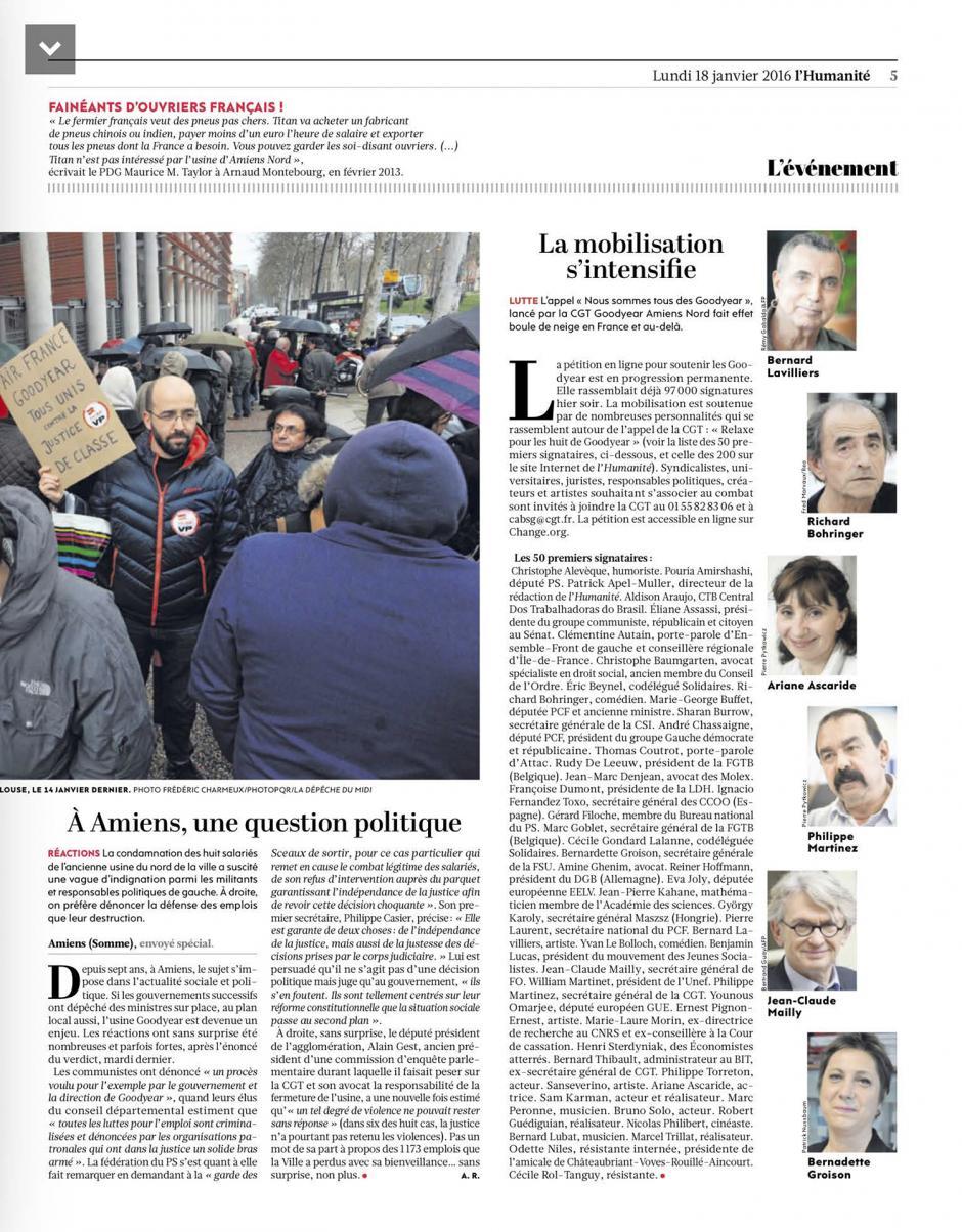 20160118-L'Huma-Amiens-Goodyear : la mobilisation s'intensifie