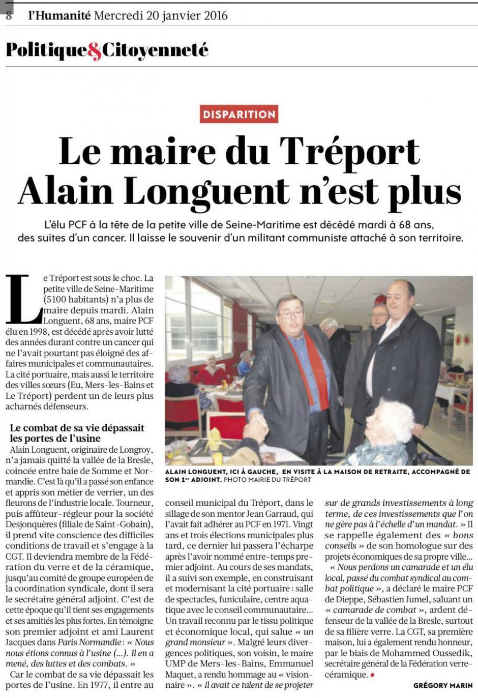 20160120-L'Huma-Le Tréport-Le maire Alain Longuent n'est plus