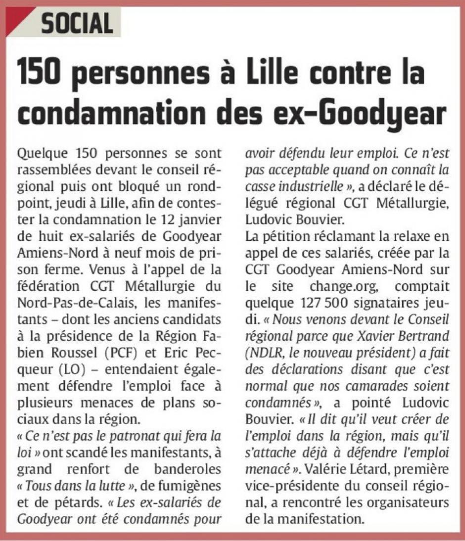 20160122-CP-Lille-150 personnes contre la condamnation des ex-Goodyear [pages régionales]