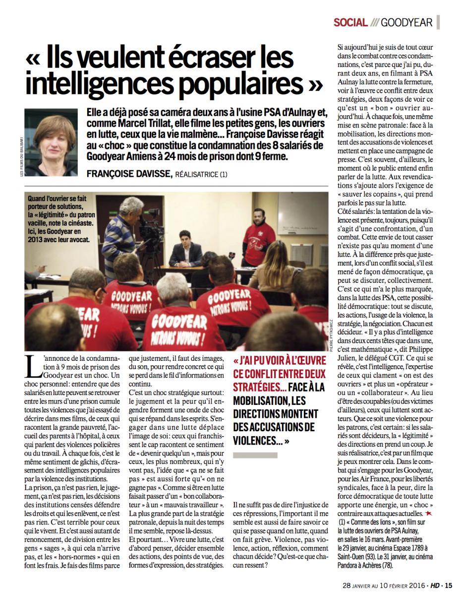 20160128-HD-France-Fançoise Davisse : « Ils veulent écraser les intelligences populaires »