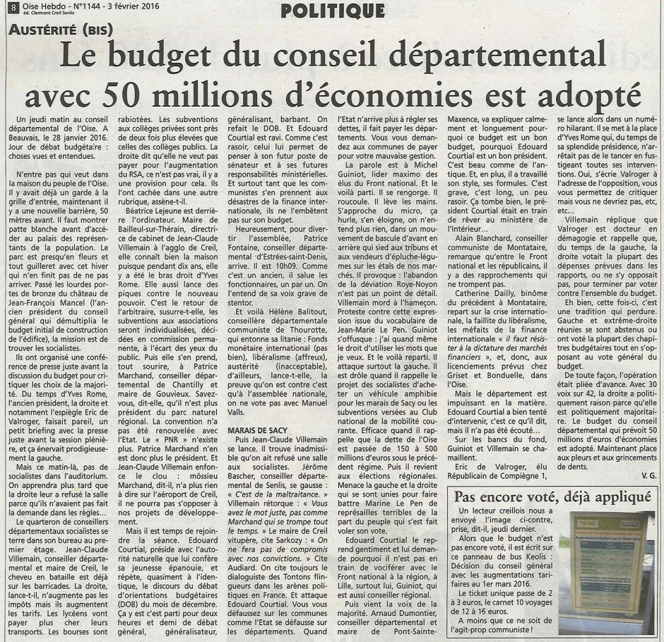 20160203-OH-Oise-Le budget du Conseil départemental avec 50 millions d'économies est adopté