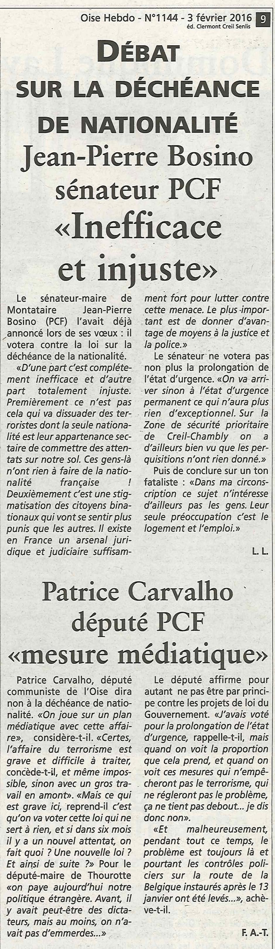 20160203-OH-Oise-Débat sur la déchéance de nationalité : « Inefficace et injuste » pour Jean-Pierre Bosino, « mesure médiatique » pour Patrice Carvalho