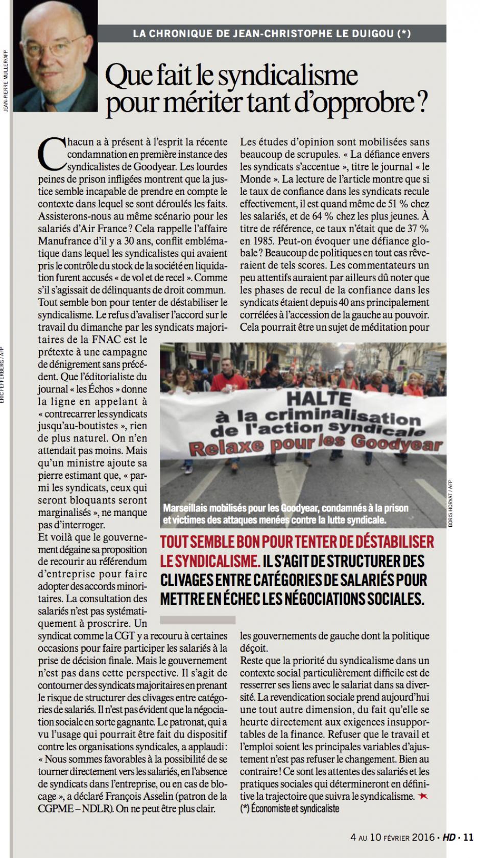 20160204-HD-France-Jean-Christophe Le Duigou : « Que fait le syndicalisme pour mériter tant d'opprobre ? »