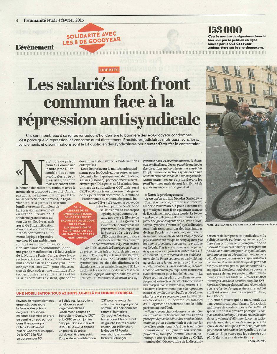 20160204-L'Huma-France-Les salariés font front commun face à la répression syndicale