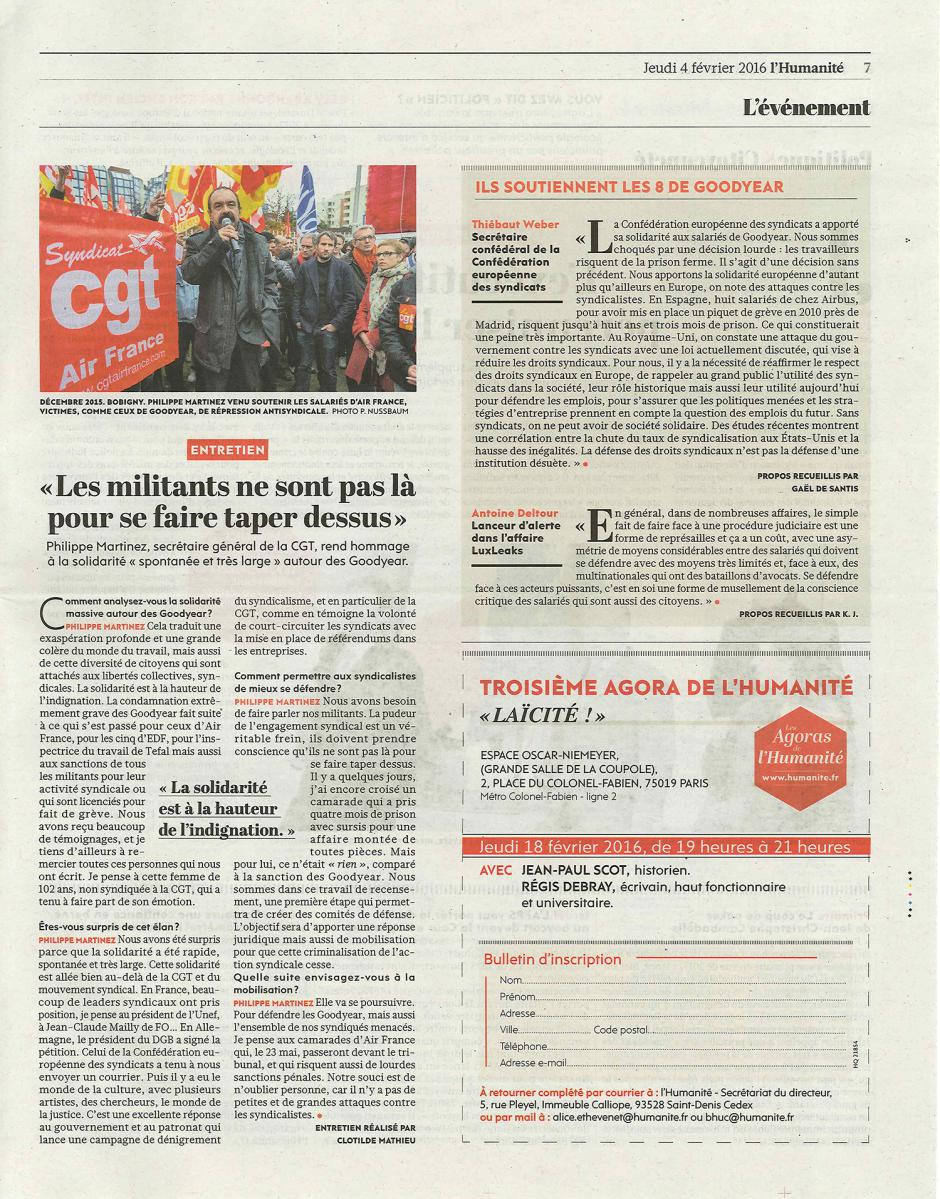20160204-L'Huma-France-Philippe Martinez : « Les militants ne sont pas là pour se faire taper dessus »