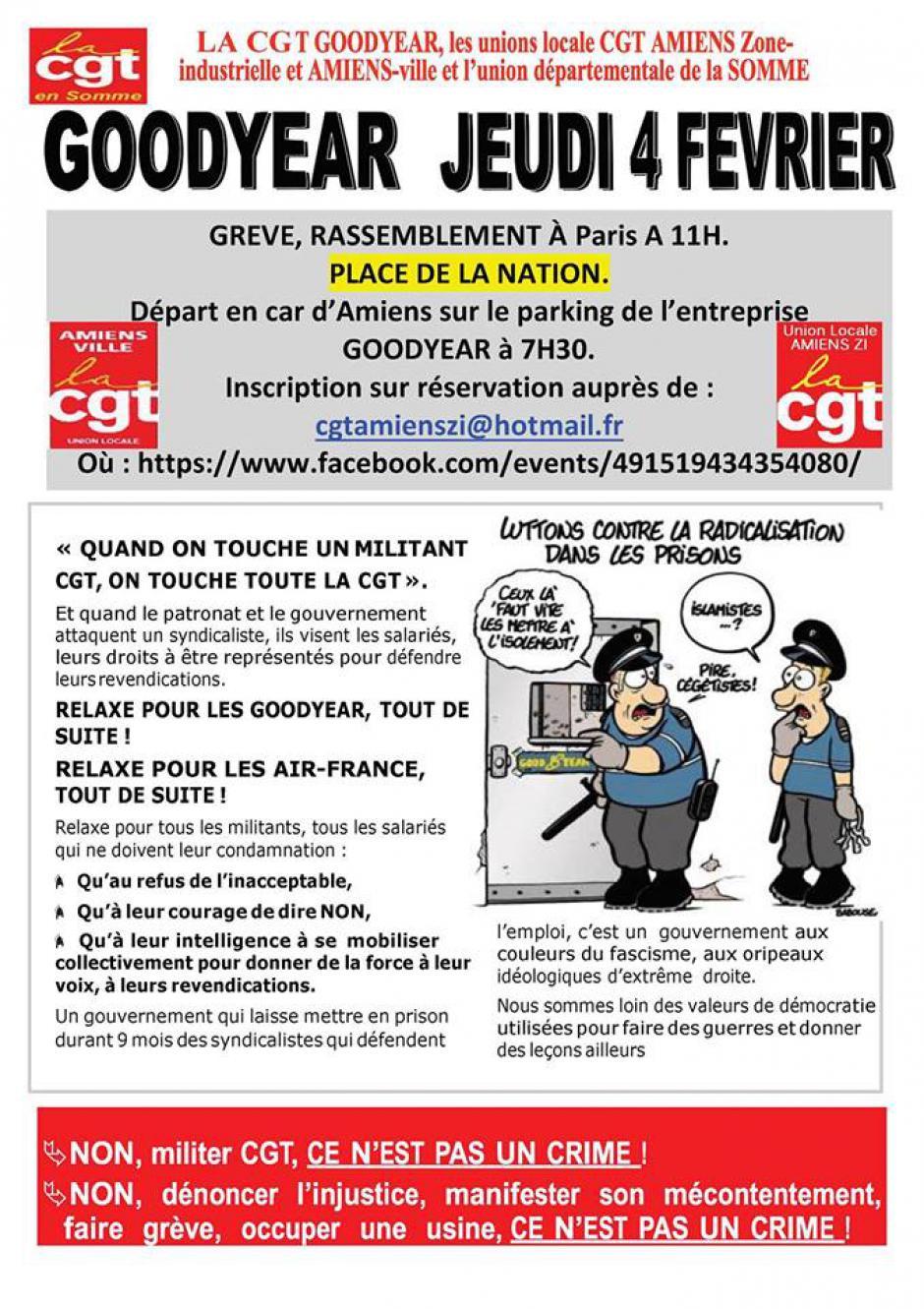 4 février, Paris - Manifestation « Relaxe pour les 8 syndicalistes de Goodyear »