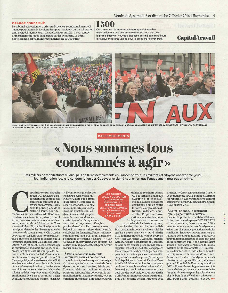 20160205-L'Huma-France-Mickaël Wamen : « Nous sommes tous condamnés à agir »
