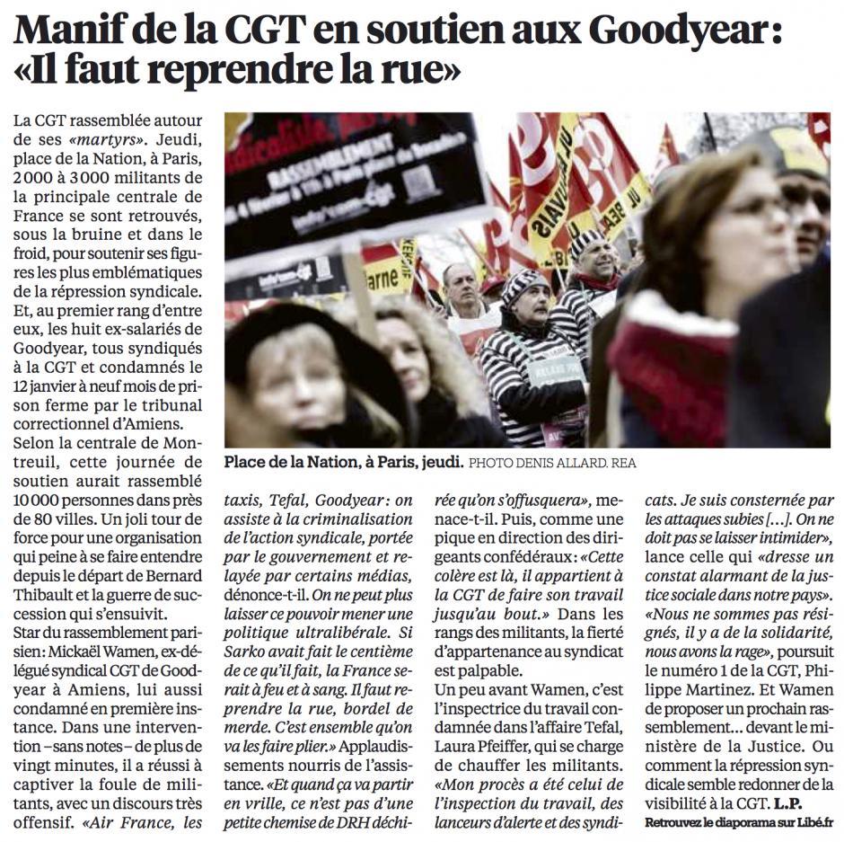 20160205-Libé-Paris-Manif de la CGT en soutien aux Goodyear : « Il faut reprendre la rue »