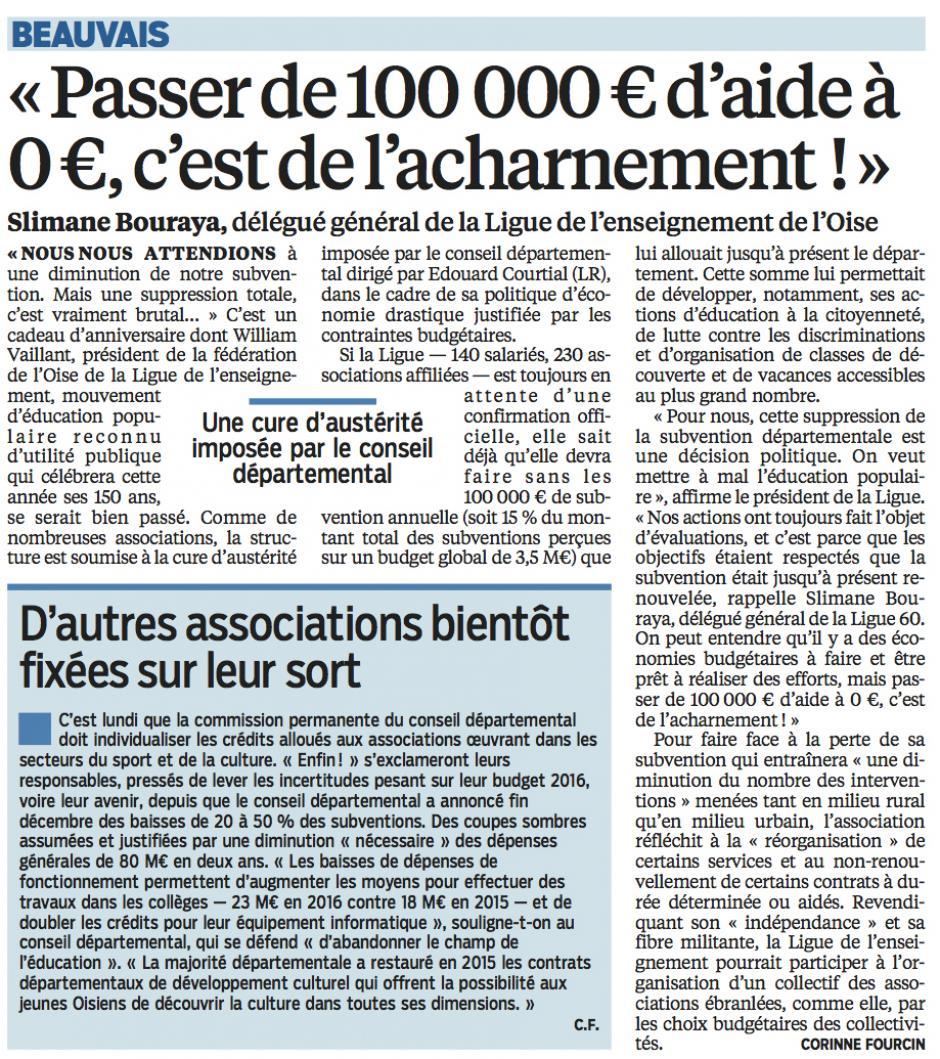 20160216-LeP-Oise-Le délégué général de la Ligue de l'enseignement : « Passer de 100 000 € d'aides à 0 €, c'est de l'acharnement ! »