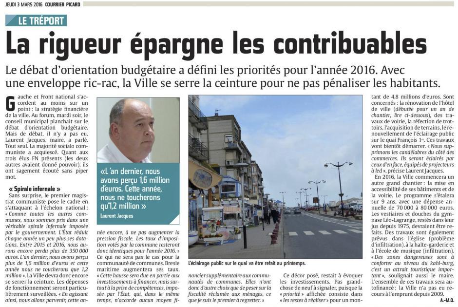 20160303-CP-Le Tréport-La rigueur épargne les contribuables [édition Picardie maritime]