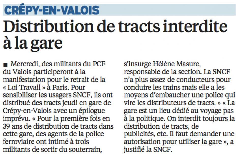 20160307-LeP-Crépy-en-Valois-Distribution de tracts interdite à la gare