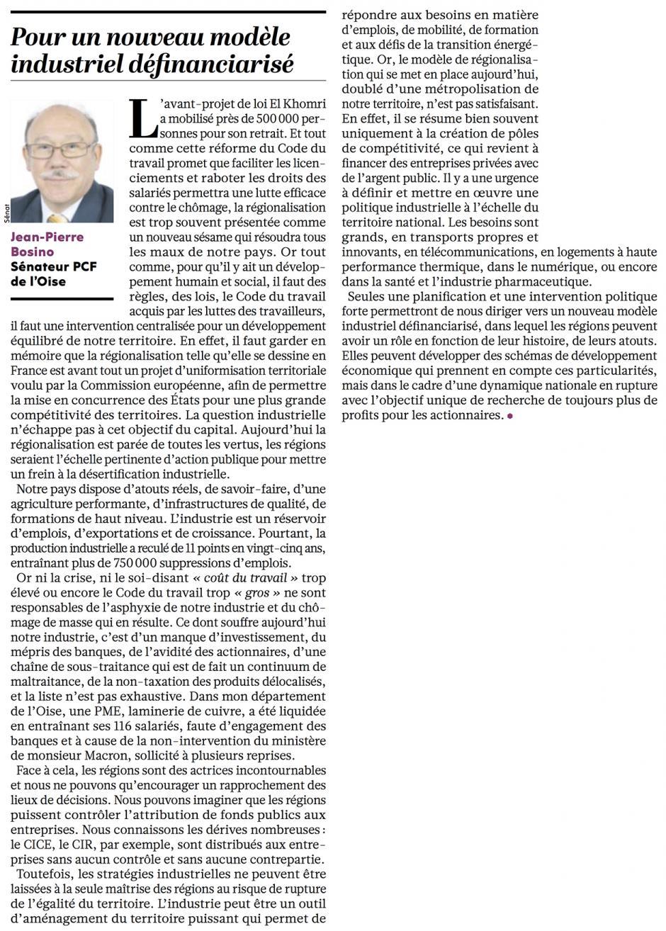 20160317-L'Huma-France-Jean-Pierre Bosino : « Pour un nouveau modèle industriel définanciarisé »