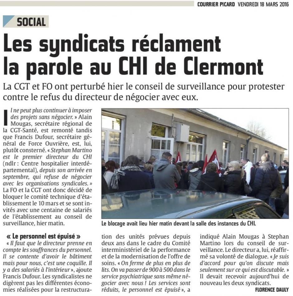 20160318-CP-Clermont-Les syndicats réclament la parole au CHI
