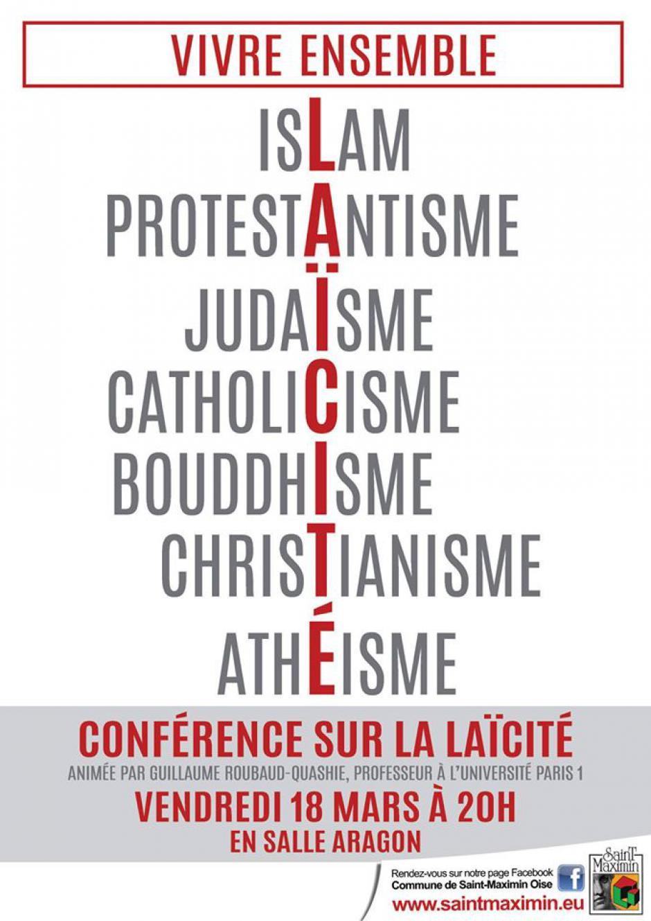 18 mars, Saint-Maximin - La laïcité, outil d'émancipation