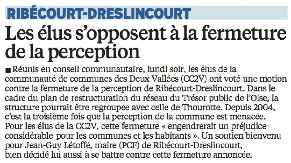 20160323-LeP-Ribécourt-Dreslincourt-Les élus s'opposent à la fermeture de la perception