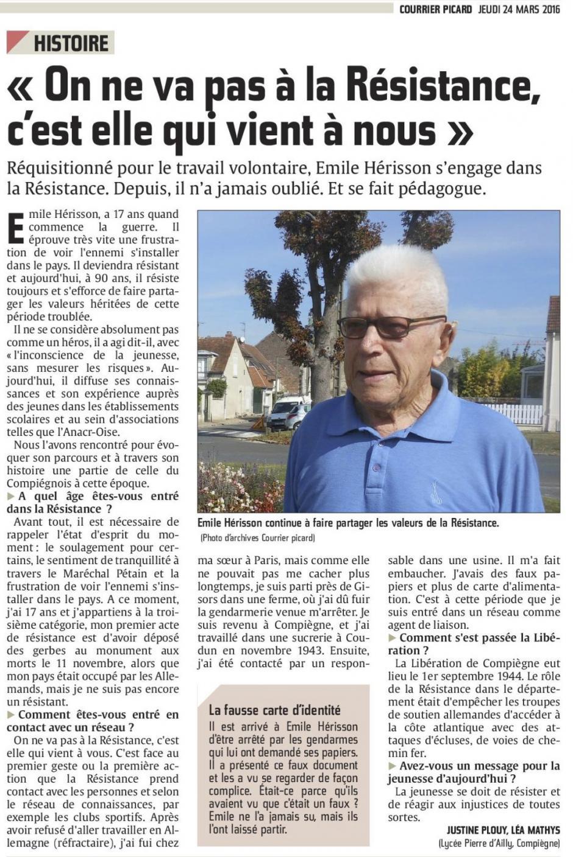20160324-CP-Compiègne-Émile Hérisson : « On ne va pas à la Résistance, c'est elle qui vient à nous »
