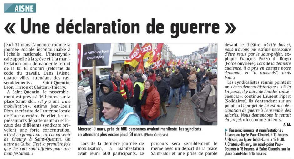 20160330-CP-Aisne-Le projet de loi El Khomri : « une déclaration de guerre » [édition Saint-Quentin]
