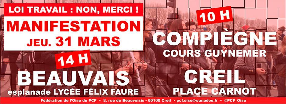 31 mars, Beauvais, Compiègne, Creil - Manifestations pour le retrait du projet de loi El Khomri