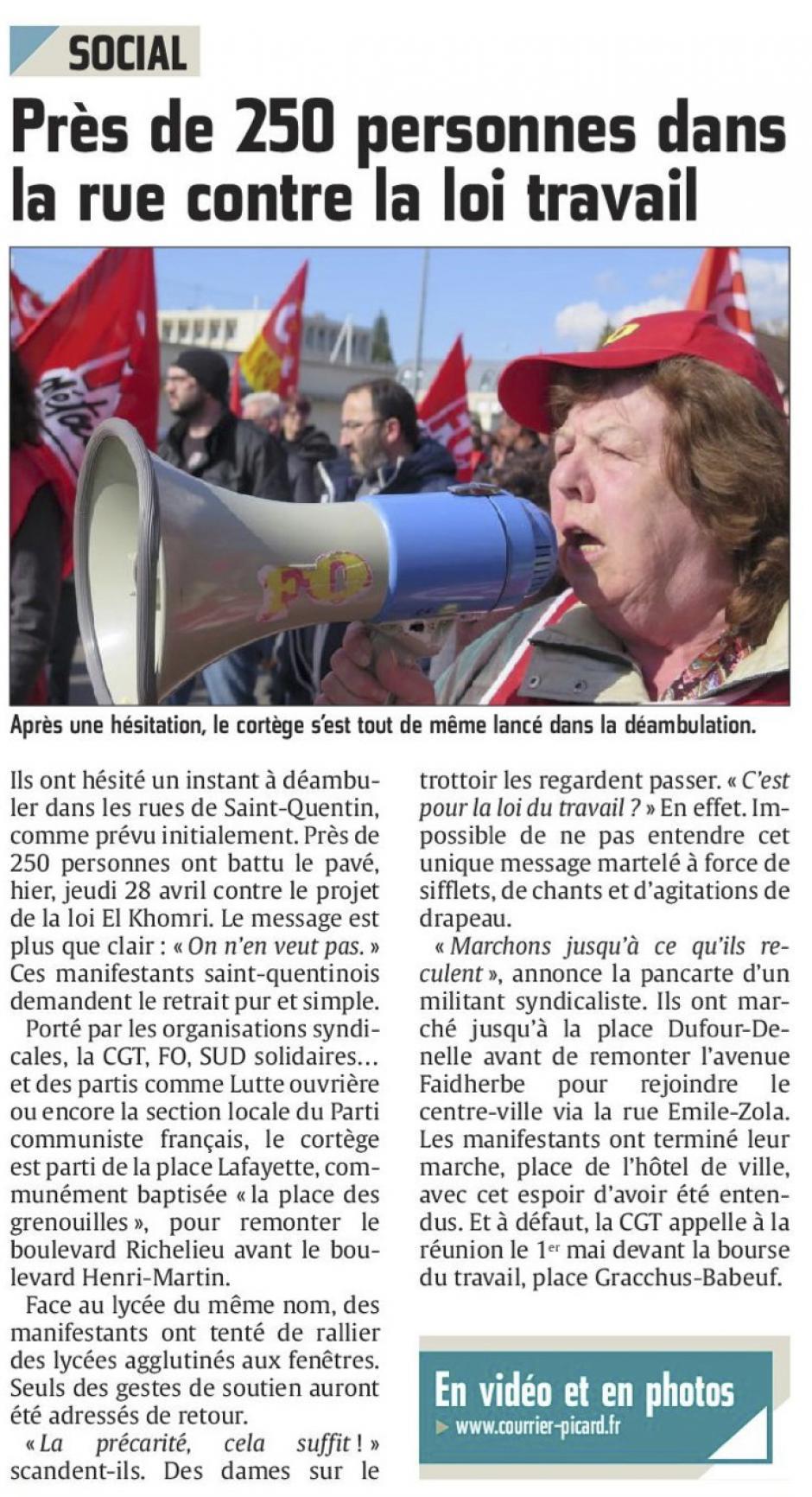 20160429-CP-Saint-Quentin-Près de 250 personnes dans la rue contre la loi travail [édition Saint-Quentin]