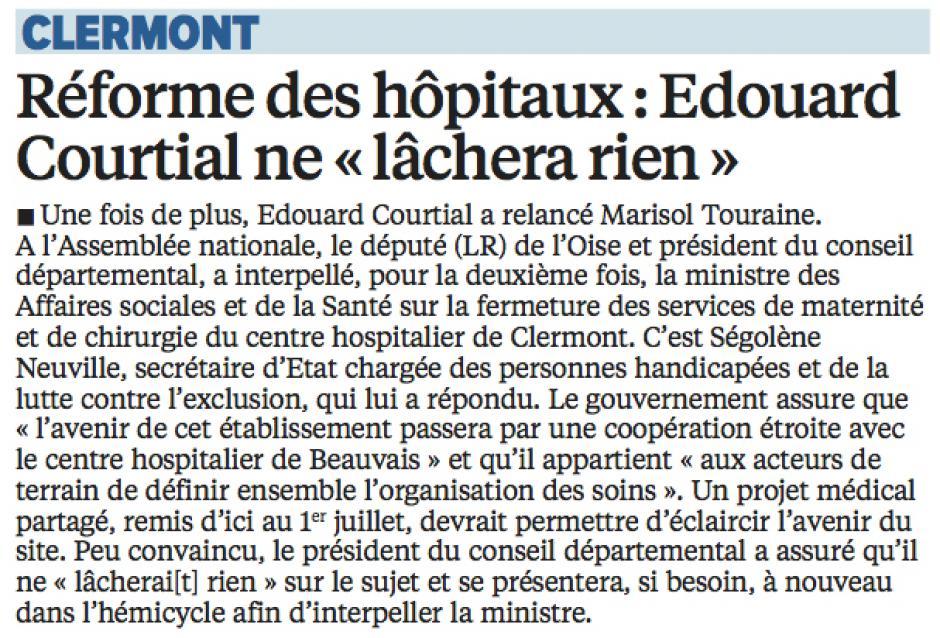 20160503-LeP-Clermont-Réforme des hôpitaux : Courtial ne « lâchera rien »