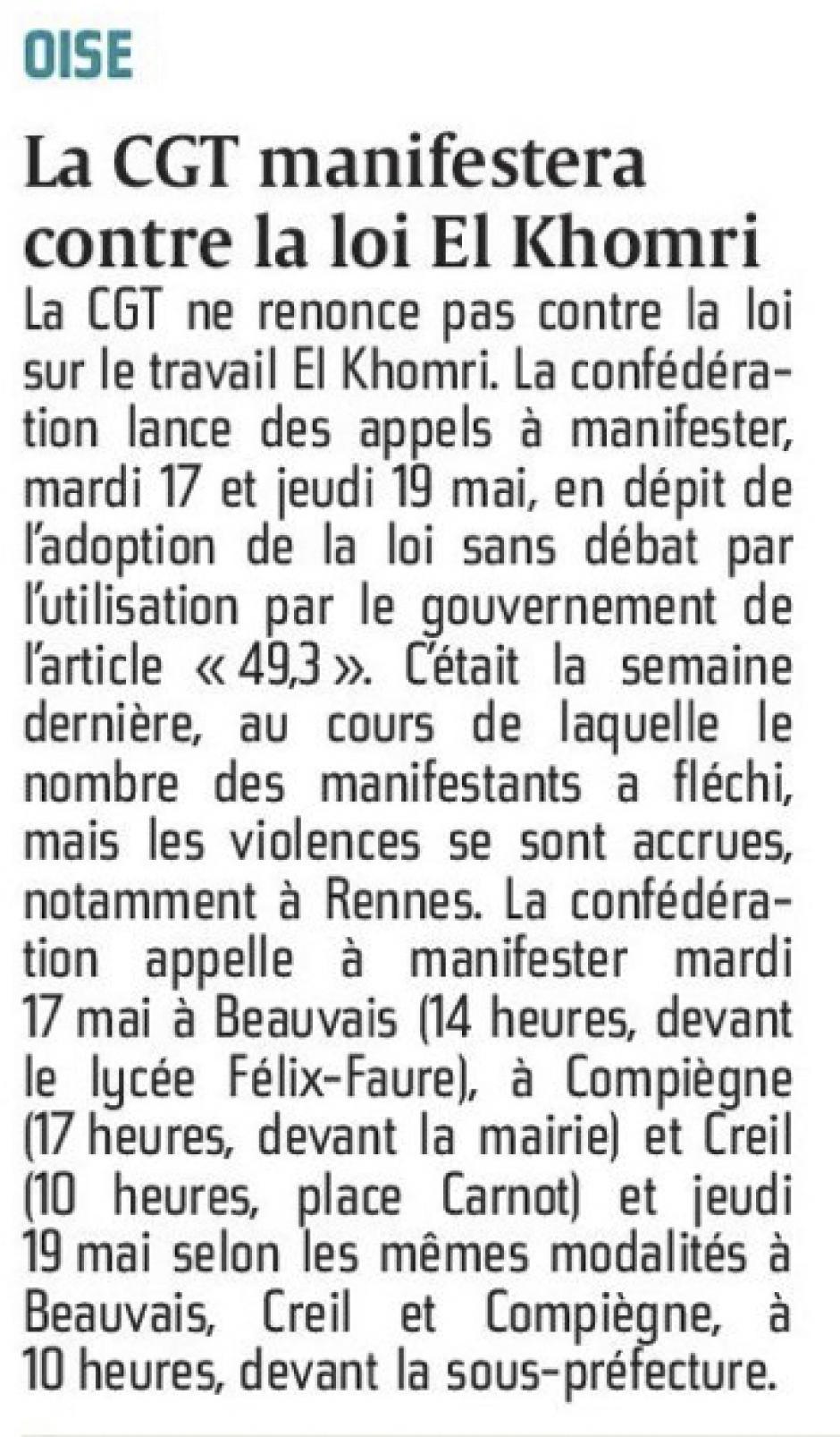 20160516-CP-Oise-La CGT manifestera contre la loi El Khomri