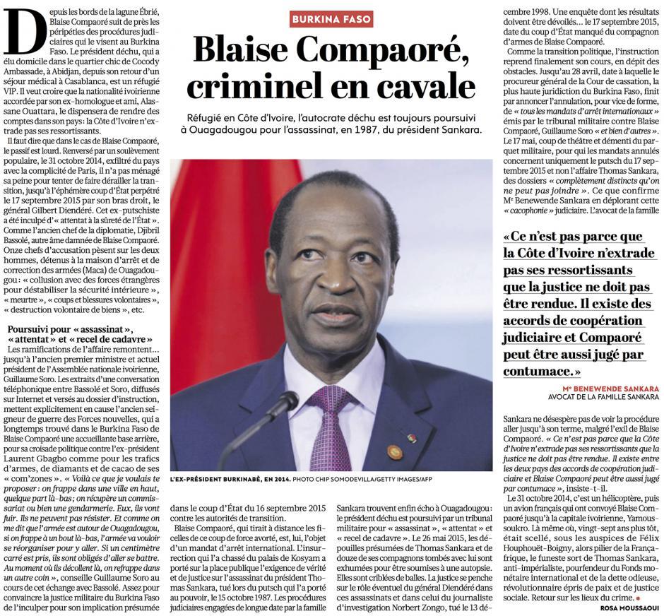20160526-L'Huma-Burkina Faso-Blaise Campaoré, criminel en cavale