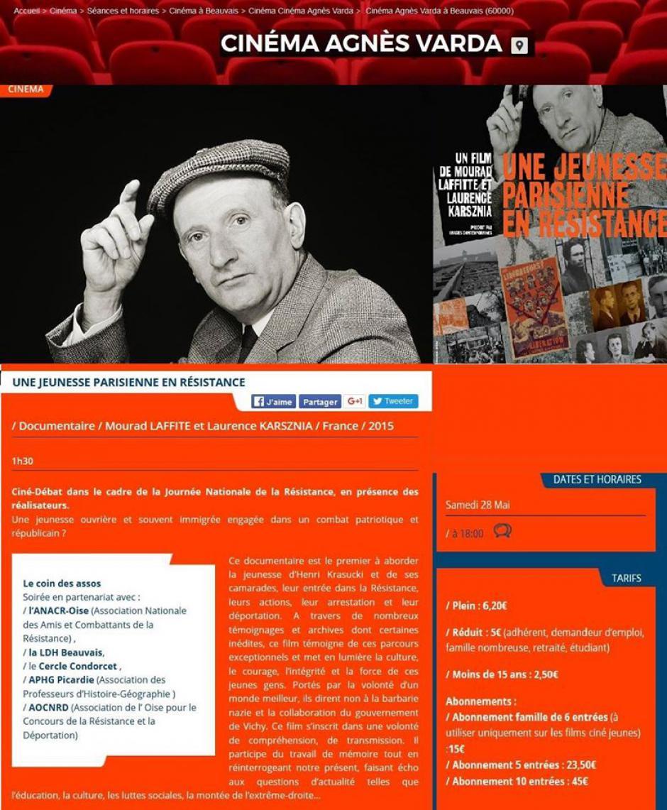 28 mai, Beauvais - Asca-Ciné-débat « Une jeunesse parisienne en résistance », avec Laurence Karsznia et Mourad Laffitte