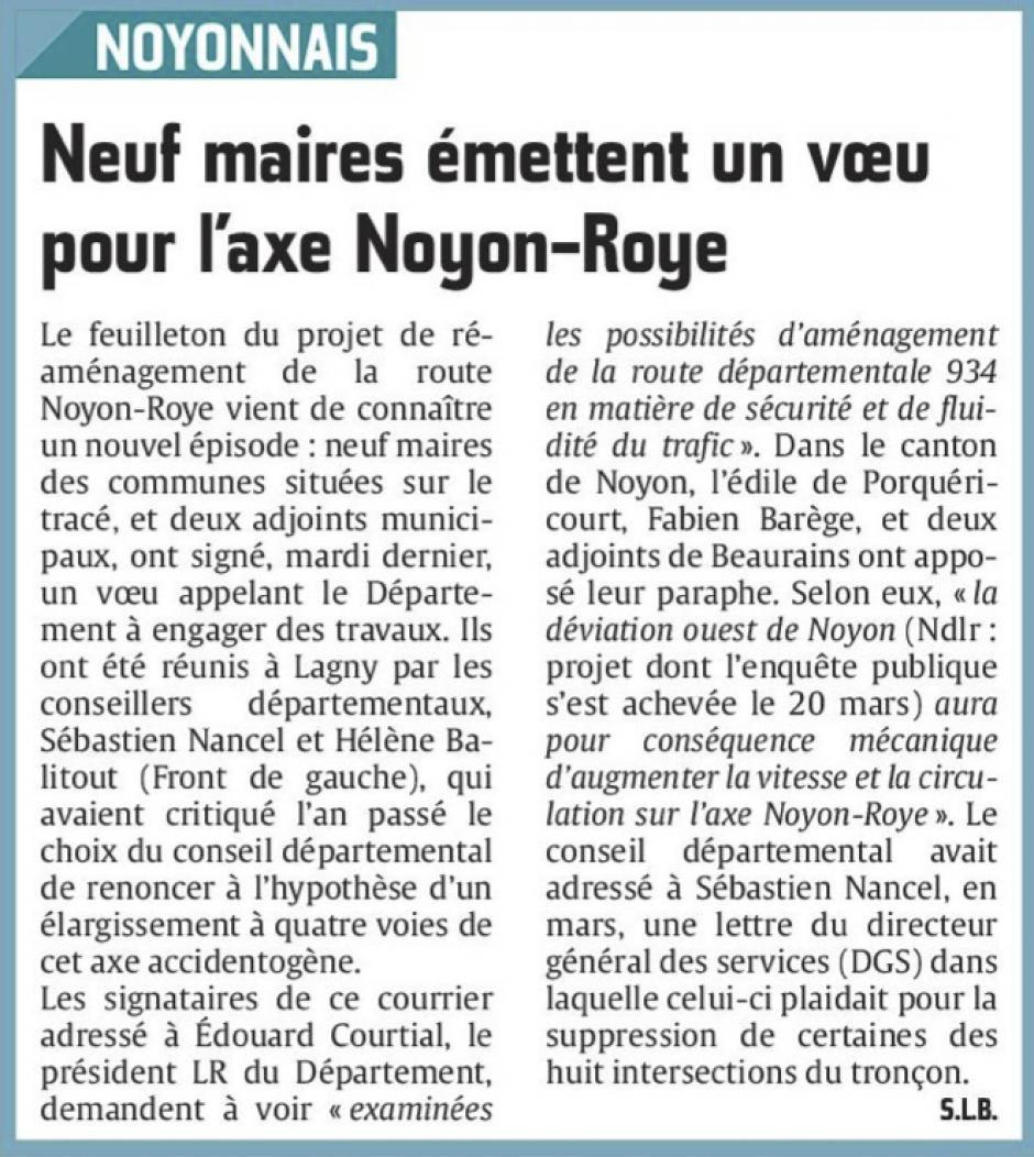 20160610-CP-Noyonnais-Neuf maires émettent un vœu pour l'axe Noyon-Roye