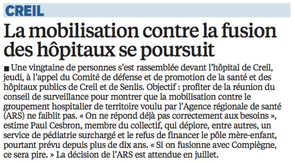 20160611-LeP-Creil-La mobilisation contre la fusion des hôpitaux se poursuit